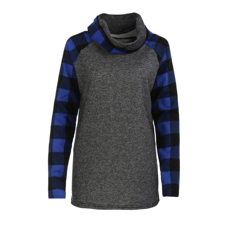 Womens Turtleneck Tops Plaid Shirts Tunic Long Sleeve Pullover Sweatshirt - fashionshoeshouse