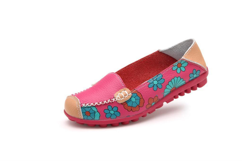Comfortable Moccasins for Women Floral Printing Slip on Loafers - fashionshoeshouse