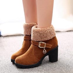 Autumn Winter Solid buckle snow boots - fashionshoeshouse