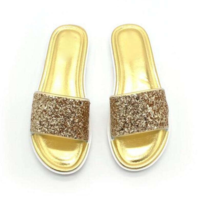 Summer Bling Sparking Glitter Slippers Peep Toe - fashionshoeshouse