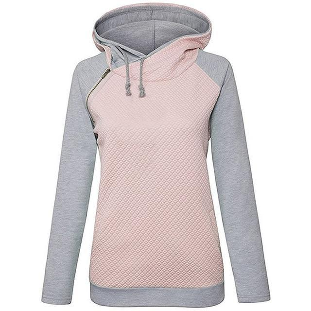 Zipper Decoration Long Sleeve Hoodie - fashionshoeshouse