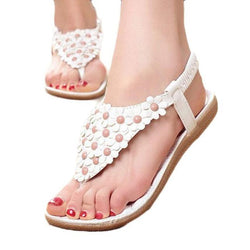 Summer Bohemia Sweet Beaded Sandals Clip Toe Sandals Beach Shoes - fashionshoeshouse