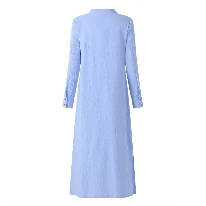 Loose Long Sleeve Split Maxi Dress - fashionshoeshouse