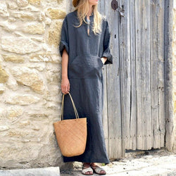Vintage Linen Maxi Dress - fashionshoeshouse