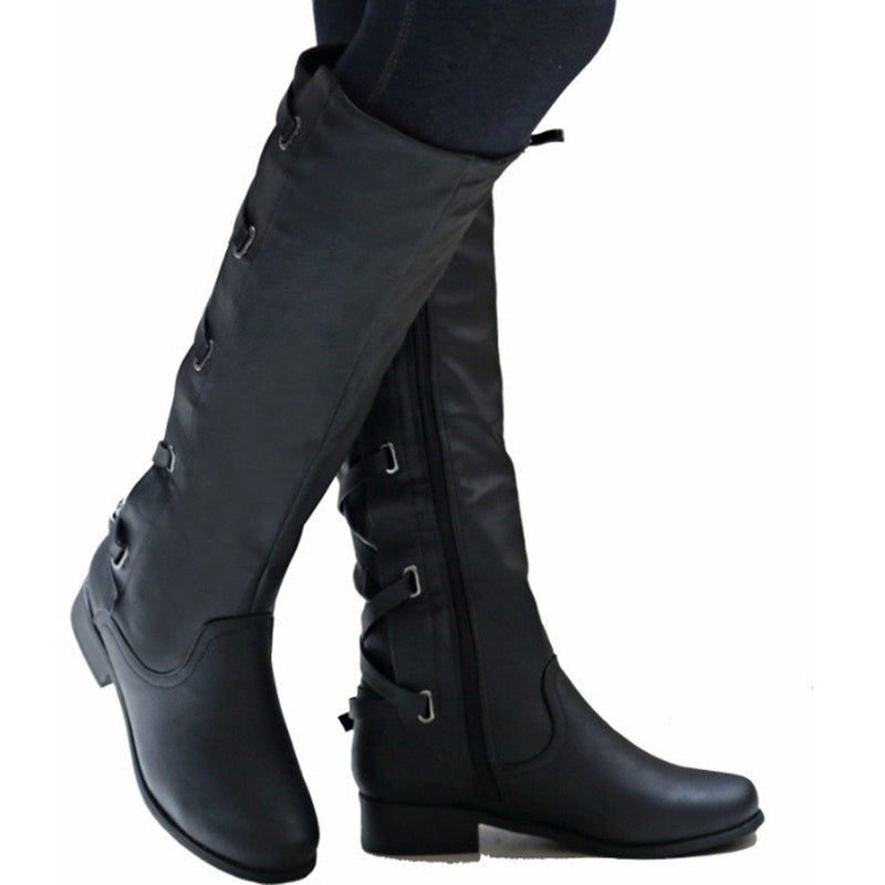 Knee High Zipper Motorcycle Boots Low Heels Buckle Cross Tie Platform Boots - fashionshoeshouse