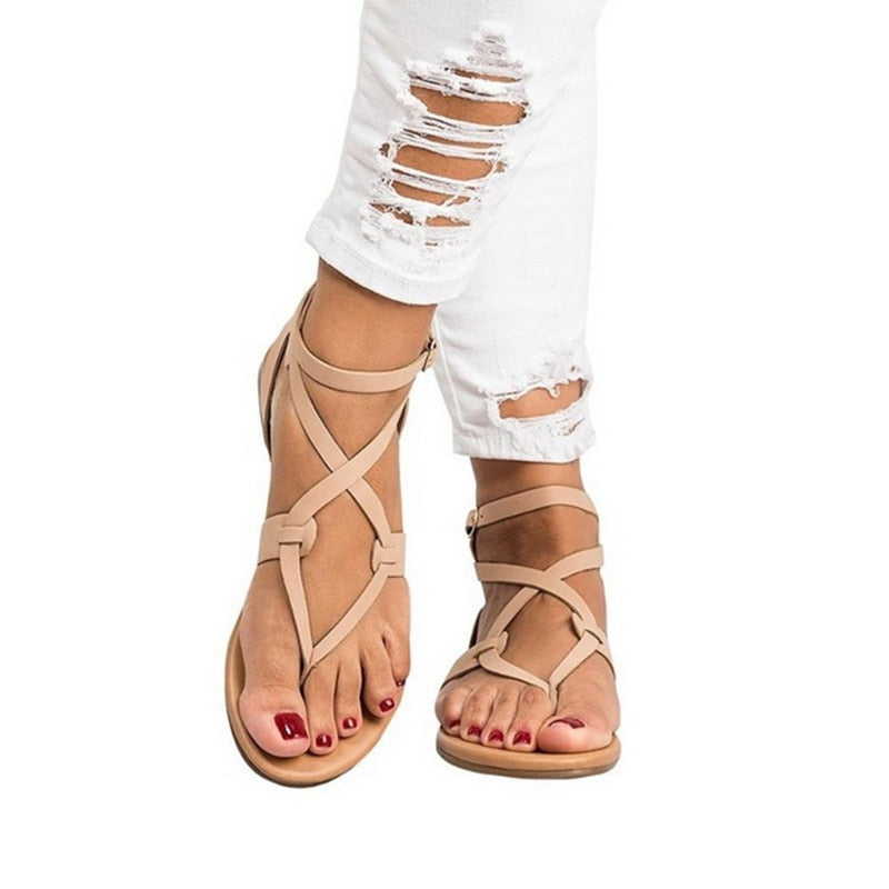Women Sandals Plus Size Gladiator Sandals Summer Shoes Female Beach Flat Sandals Shoes Women - fashionshoeshouse