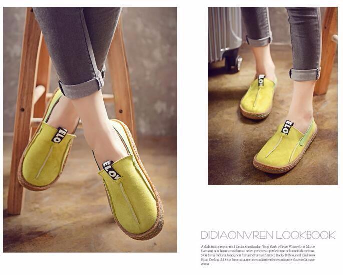 Vintage casual loafers for women round toe - fashionshoeshouse