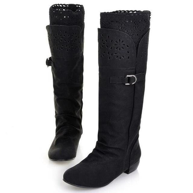 Low Heel Knee High Boots Buckle Boots - fashionshoeshouse