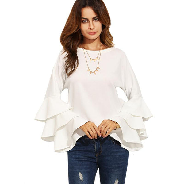 Ruffle Long Sleeve Blouse - fashionshoeshouse