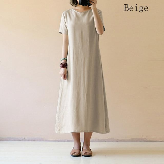 Casual Cotton Linen Dress - fashionshoeshouse