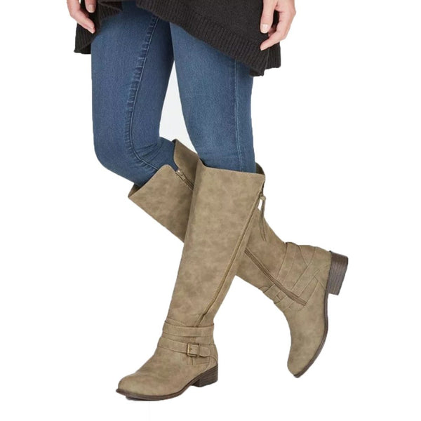 Zipper Buckle Knee High Boots - fashionshoeshouse