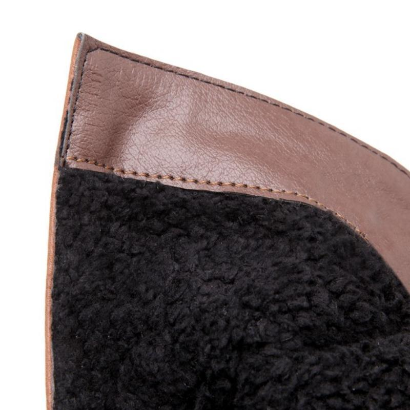 Winter Warm Fur Buckle Zipper Boots - fashionshoeshouse
