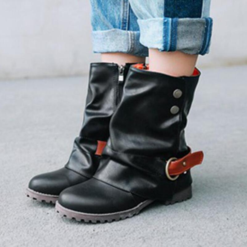 Vintage Fur-lined Buckle Ankle Boot - fashionshoeshouse