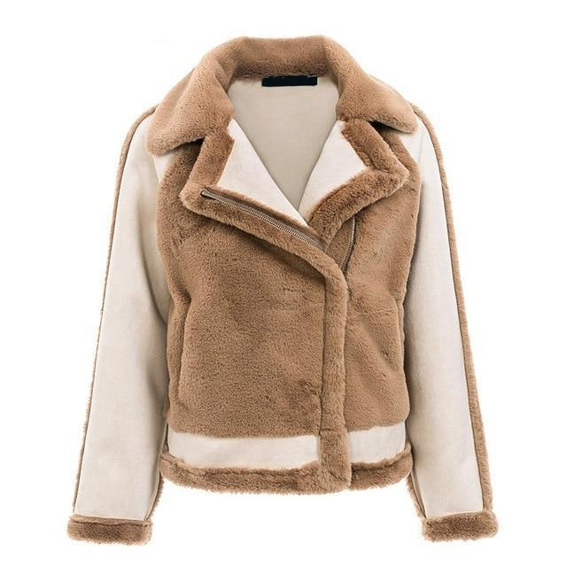 Winter warm zipper pocket faux fur coat - fashionshoeshouse