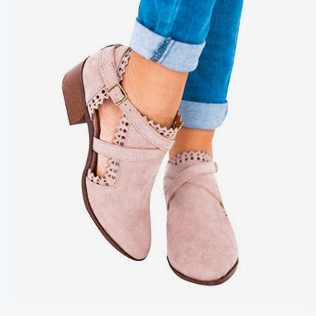 Autumn Hollow Low Heel Ankle Boots Buckle Strap Short Boot - fashionshoeshouse