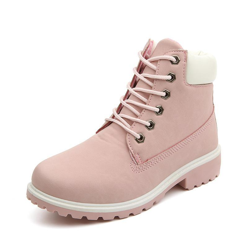 Flat Heel Fashion Blush Boots - fashionshoeshouse