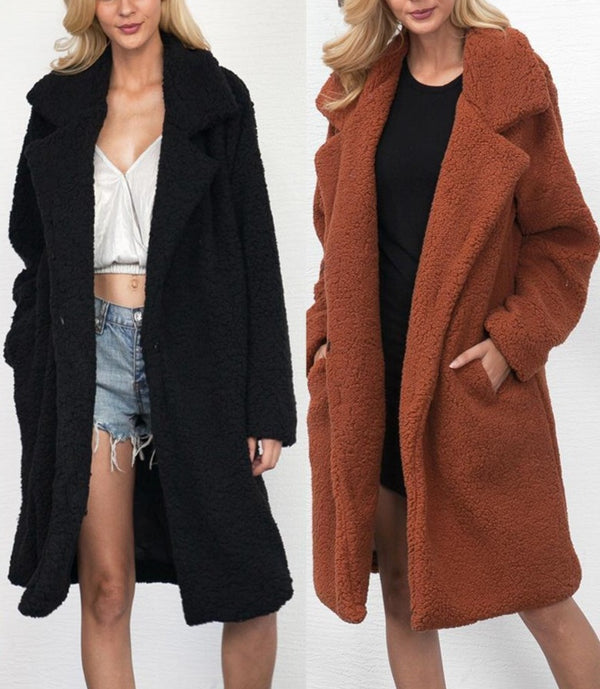 Faux fur teddy plus size coat - fashionshoeshouse