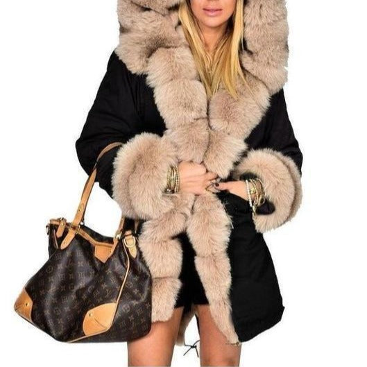 Plus Size Winter Faux Fur Cotton Hooded Overcoat - fashionshoeshouse