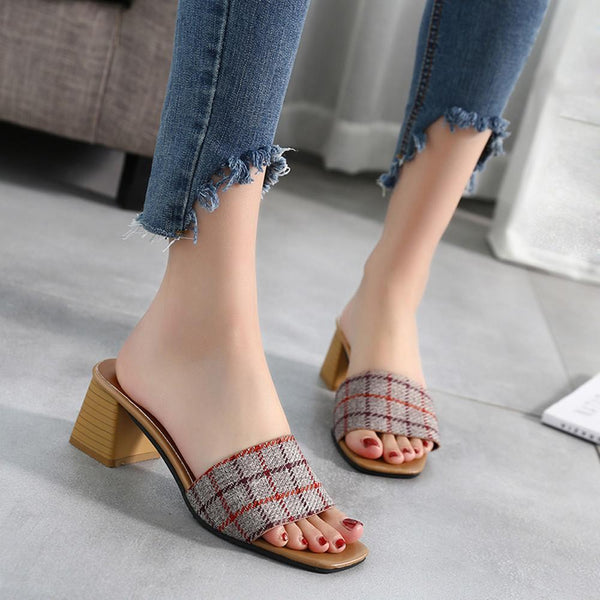 Women Stripe Lattice Slippers Bohemia Flip Flops - fashionshoeshouse