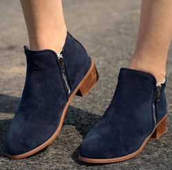 Autumn Ankle Boots Low Heel Shoes Flock Casual Zipper Chunky Heels - fashionshoeshouse