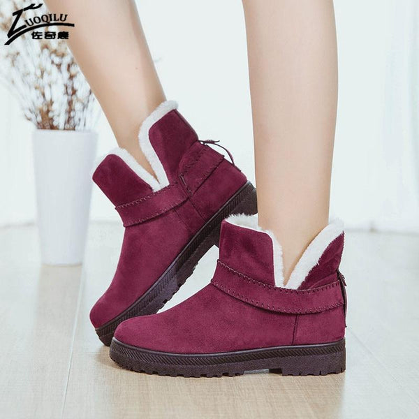 Faux fur ankle snow boots - fashionshoeshouse