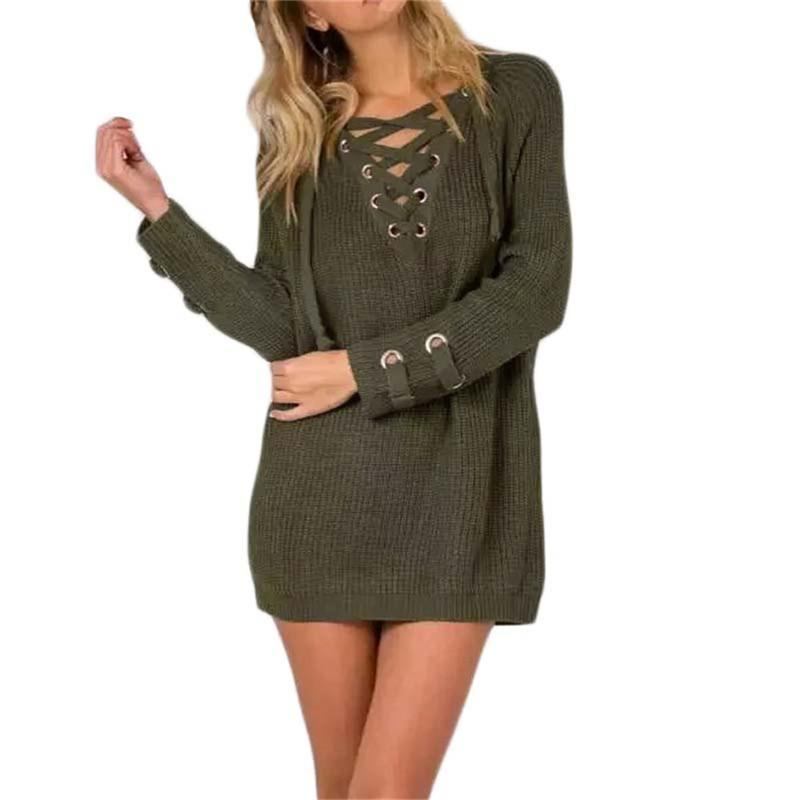 Sexy Knitted Sweater Dress V neck Bandage - fashionshoeshouse