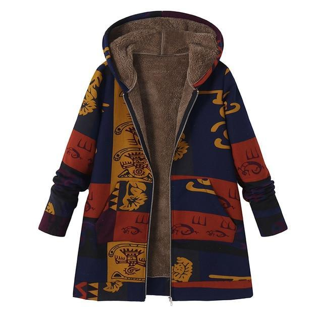 Fashion Print Hooded Winter Coat - fashionshoeshouse