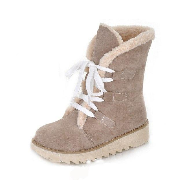 Lace up Warm Fur Platform Winter Boots - fashionshoeshouse