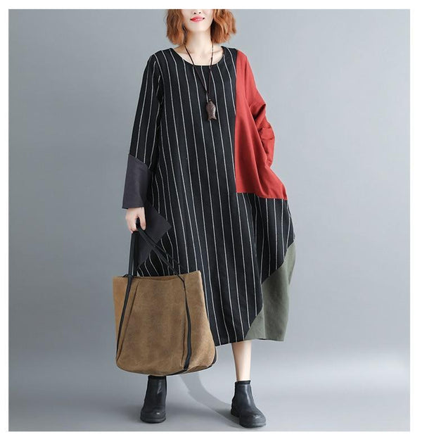 Vintage Striped Patchwork Casual Dress - fashionshoeshouse