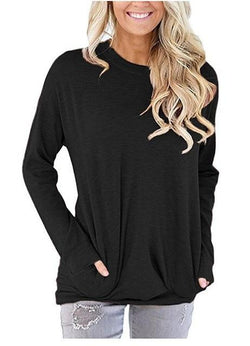 Casual Solid Batwing Tunic Tops - fashionshoeshouse