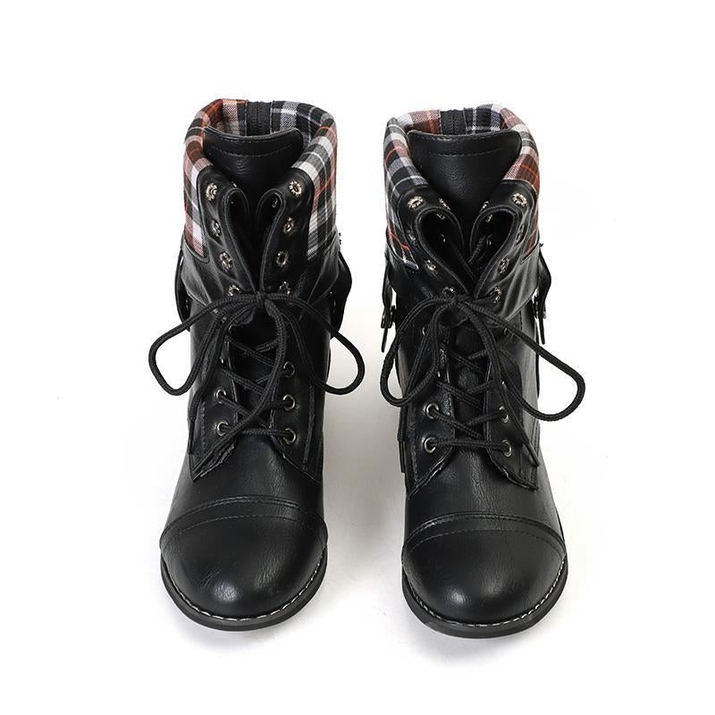 Lace Up Platform Casual Buckle Boots - fashionshoeshouse