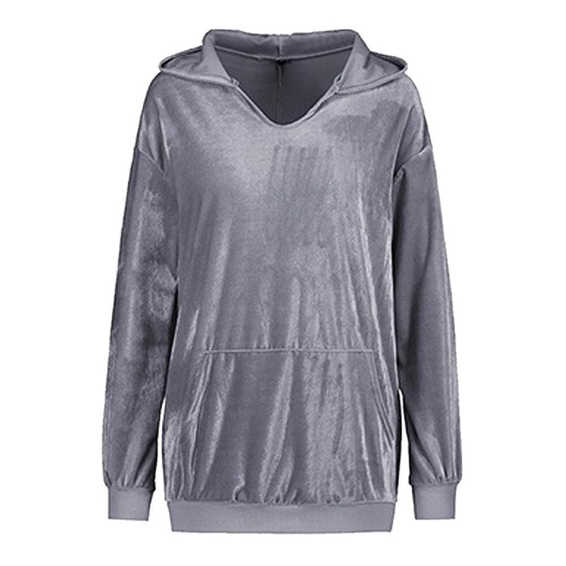 Hooded Soft Velvet Sweatshirt - fashionshoeshouse