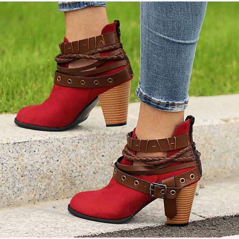 Plus Size Chunky Heels Buckle Ankle Boots - fashionshoeshouse