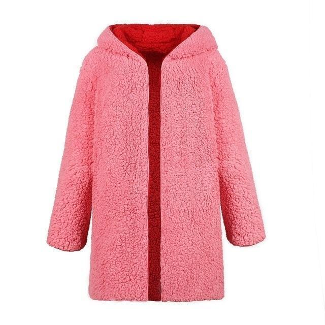 Hooded  faux fur warm coat wear on both sides - fashionshoeshouse