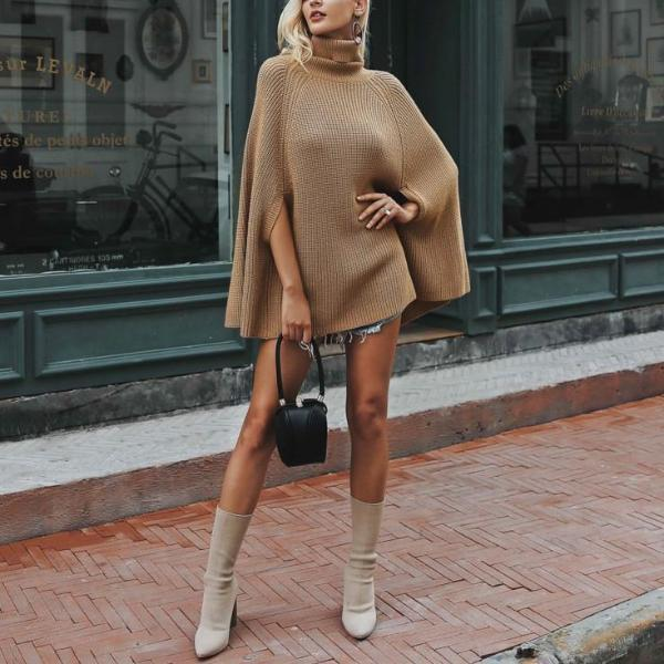 Knitted turtleneck pullovers autumn winter - fashionshoeshouse