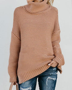 Ladies Turtleneck Knitted Pullovers - fashionshoeshouse