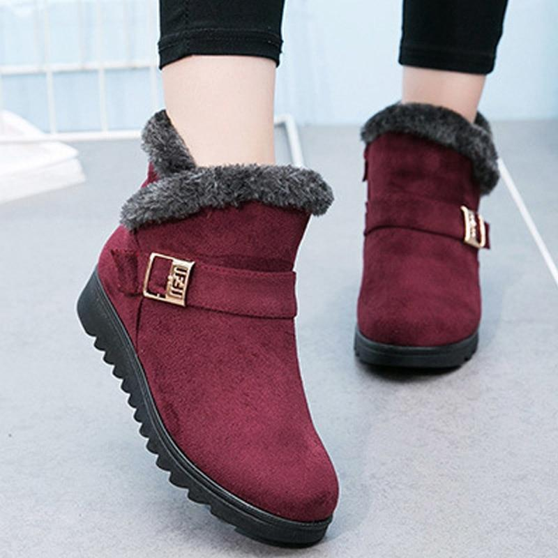 Warm Fur Platform Wedges Boots - fashionshoeshouse