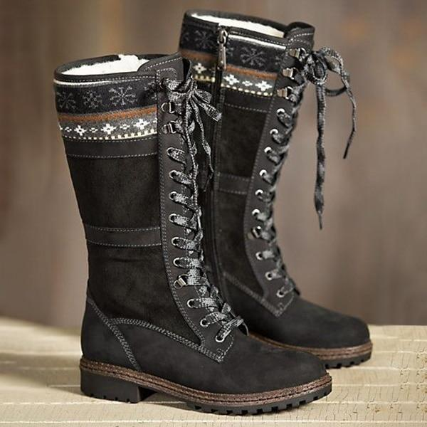 Latest Winter Knee High Lace Up Zipper Boots - fashionshoeshouse