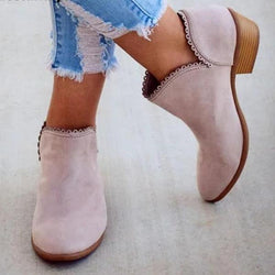 Fashion lace leather  low heel ankle boots - fashionshoeshouse