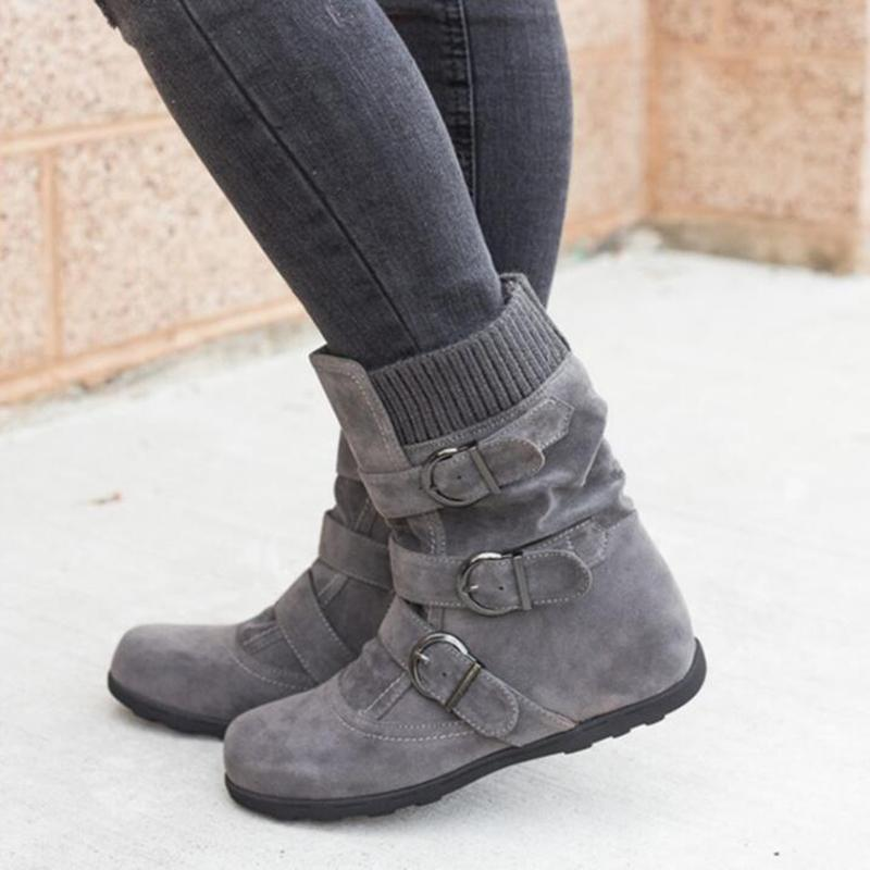 Winter Warm Suede Buckle Strap Casual Snow Boot - fashionshoeshouse