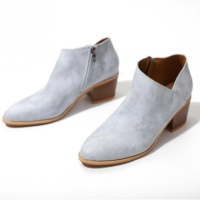 Vintage Leather Ankle Boots Slip-On Chunky Heels Waterproof Zipper Boots - fashionshoeshouse