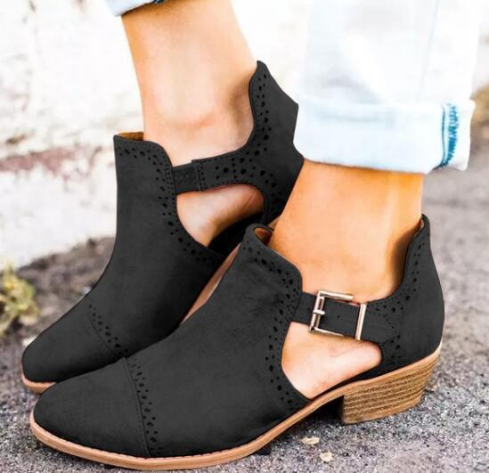 Flock Leather Chunky Heel Ankle Strap Buckle Round Toe Autumn Boot - fashionshoeshouse