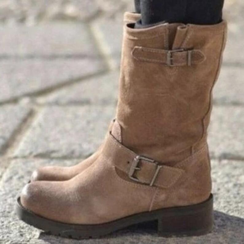 Mid-calf vintage PU leather chunky mid heels boots - fashionshoeshouse
