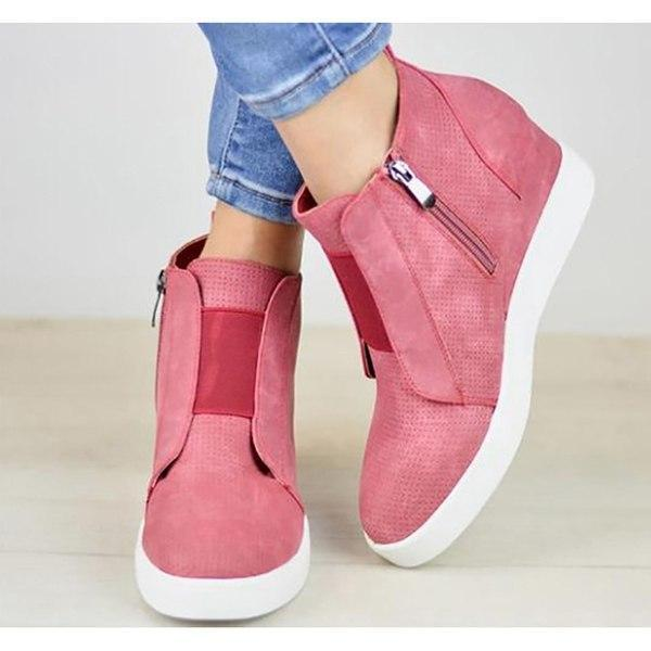 Chunky Mid Wedge Heels Ankle Boots Pumps Platform - fashionshoeshouse