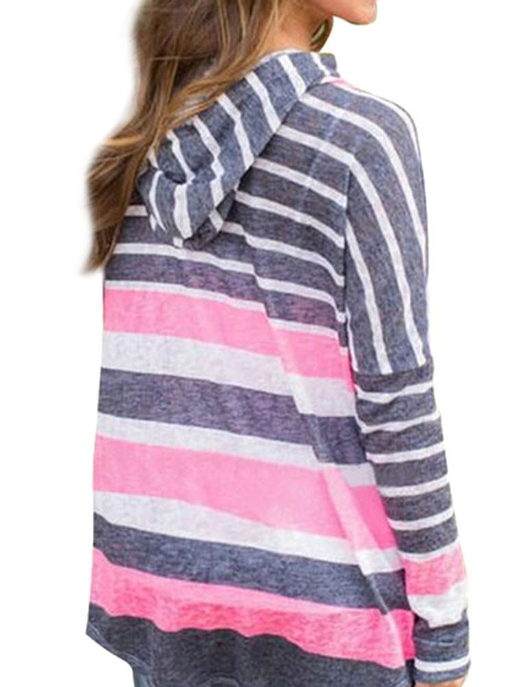 Drawstring Women Casual Striped Sweatshirts - fashionshoeshouse