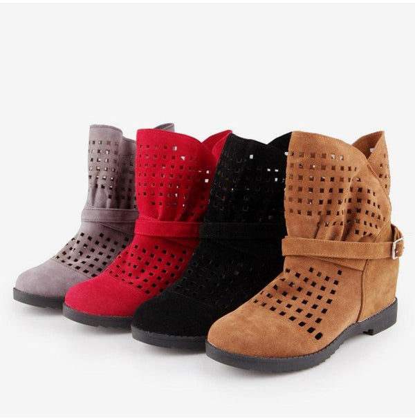 Casual Shoes Buckle Strap Ankle Boots for Women - fashionshoeshouse