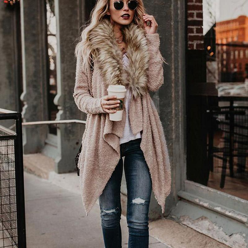 Fur Collar Teddy Coat Faux Fur Cardigan - fashionshoeshouse
