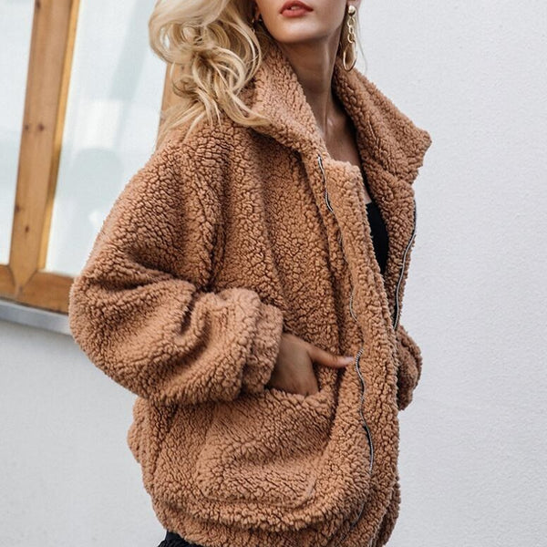 Casual long-sleeved pocket loose plush jacket - fashionshoeshouse