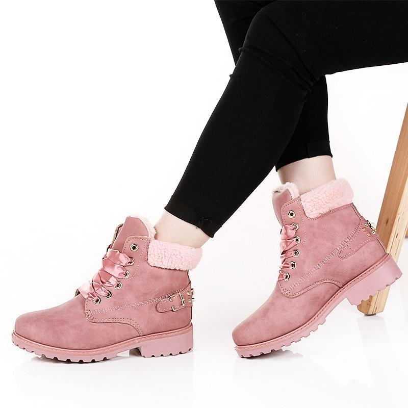 Lace up Solid Casual Ankle Boots - fashionshoeshouse