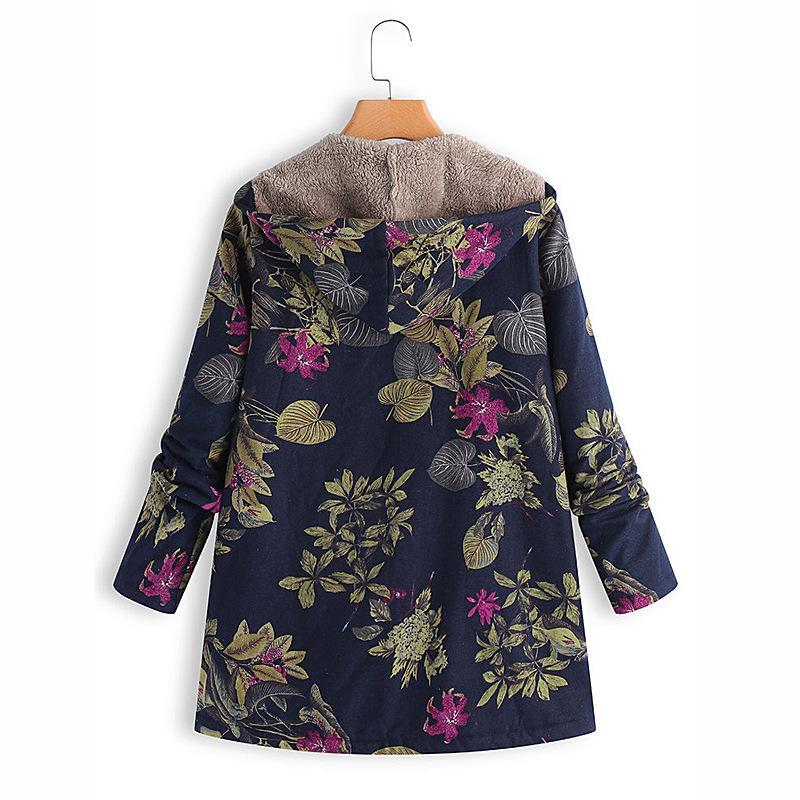Floral Plus Size Cotton Coat - fashionshoeshouse